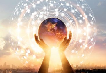 Abstract science. Hands touching earth and circle global network connection, data exchanges worldwide on city sunset background. Innovation. Creative and inspiration. Idea and imagination. Networking and technology concept